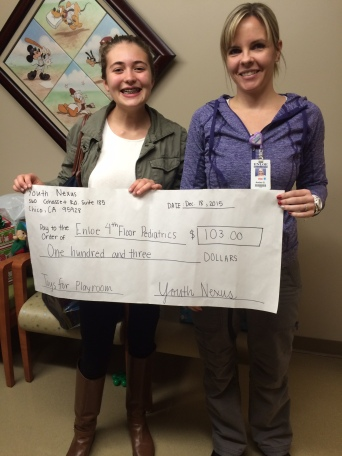 Youth Nexus grants $103 to Enloe Hospital for toys for the Pediatric Ward