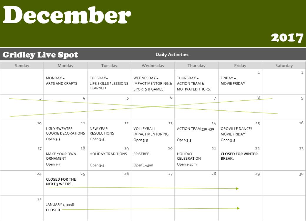 gridley live spot Dec calendar