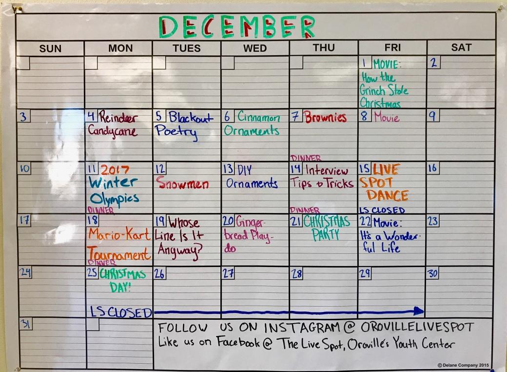 oroville live spot dec calendar